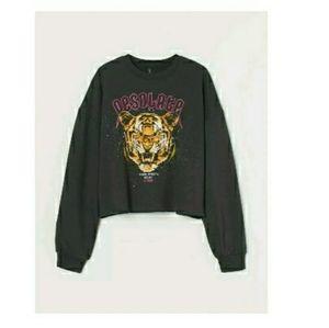 H&m cotton blend Sweatshirt black Tiger size xs